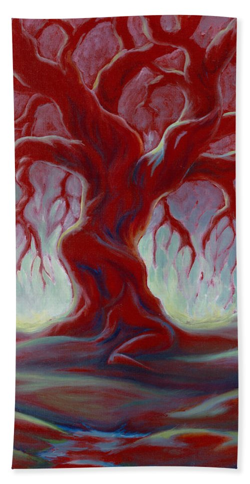 Red Oak Beach Towel featuring the painting Live Oak by Jennifer McDuffie