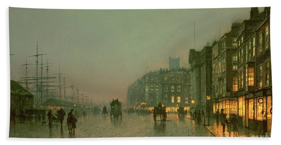 Liverpool Docks From Wapping Beach Towel featuring the painting Liverpool Docks From Wapping by John Atkinson Grimshaw