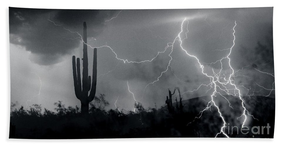 Lightning Beach Towel featuring the photograph Living In Fear-signed by J L Woody Wooden
