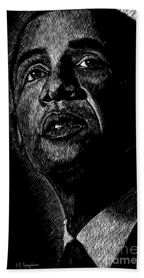 Barack Obama Beach Sheet featuring the drawing Living The Dream by Maria Arango