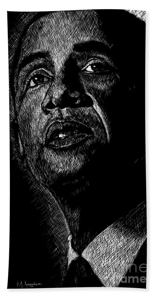 Barack Obama Beach Towel featuring the drawing Living The Dream by Maria Arango