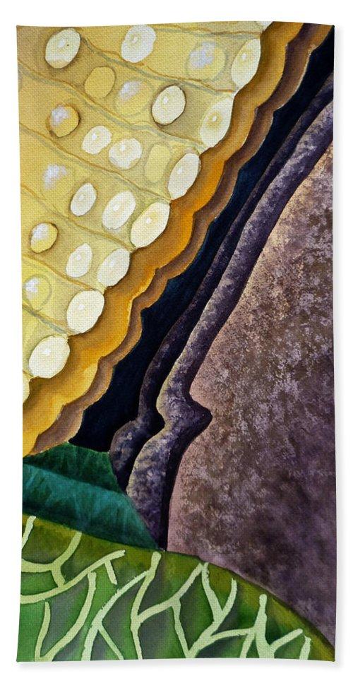 Abstract Art Beach Towel featuring the painting Lizard Skin Abstract IIi by Irina Sztukowski