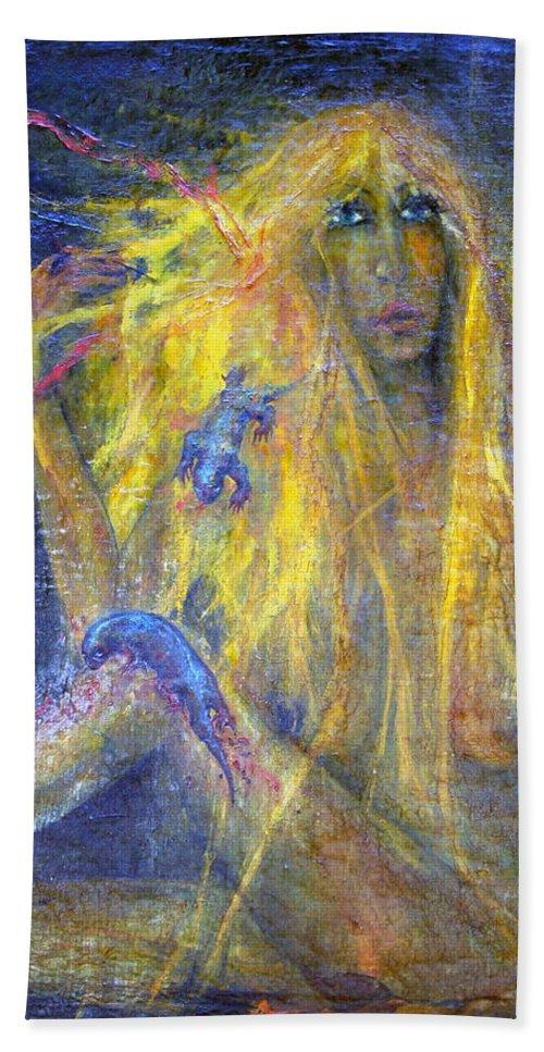 Imagination Beach Towel featuring the painting Lizard by Wojtek Kowalski