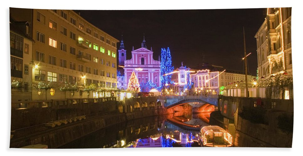 Christmas Beach Towel featuring the photograph Ljubljana At Christmas by Ian Middleton