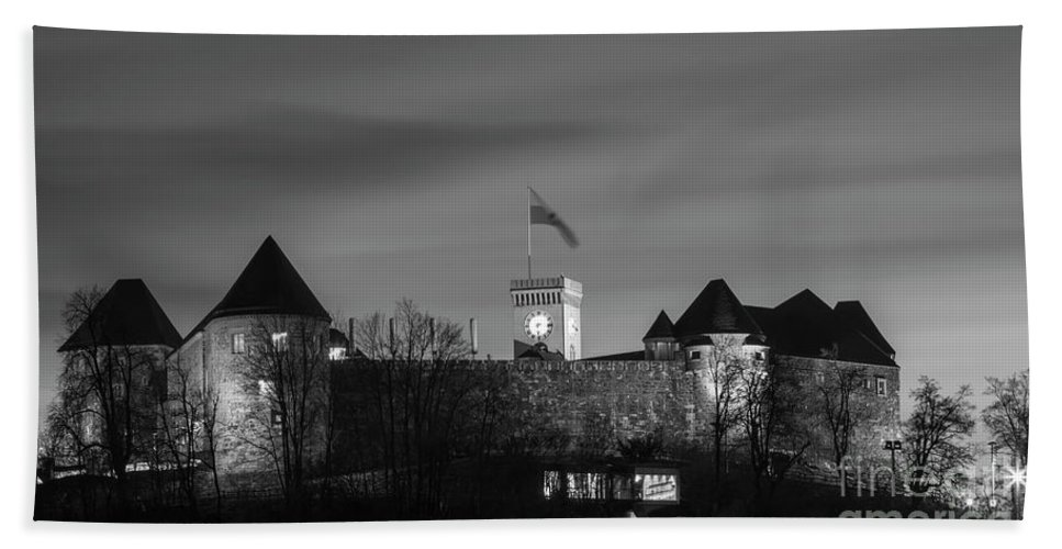 Isaev Beach Towel featuring the photograph Ljubljana Castle In Black And White by Vyacheslav Isaev