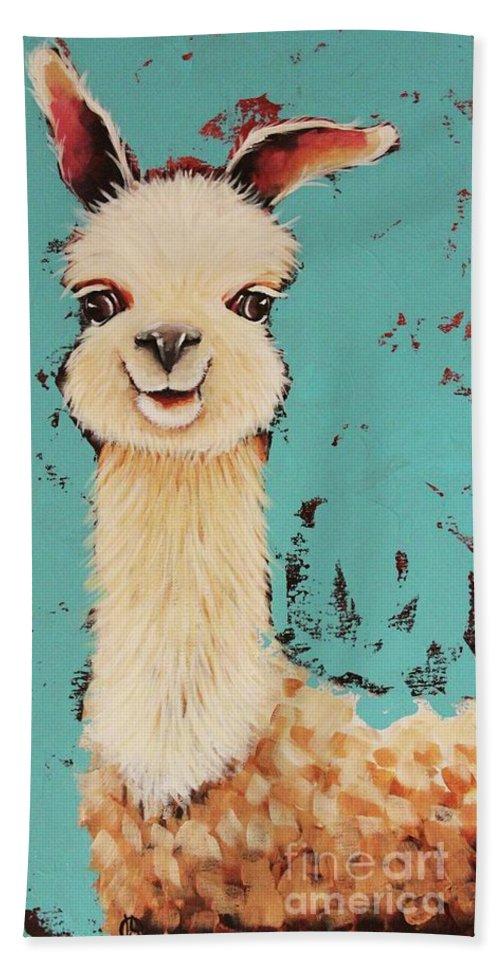 Llama Beach Towel featuring the painting Llama Sid by Lucia Stewart