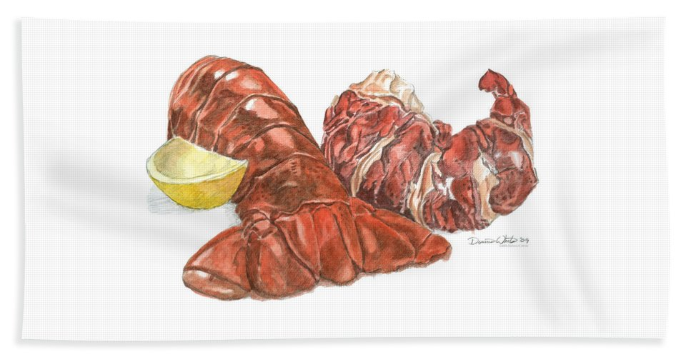 Lobster Beach Sheet featuring the painting Lobster Tail And Meat by Dominic White