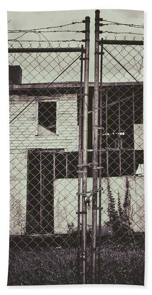 Beach Towel featuring the photograph Locked Fence by Joshua Price