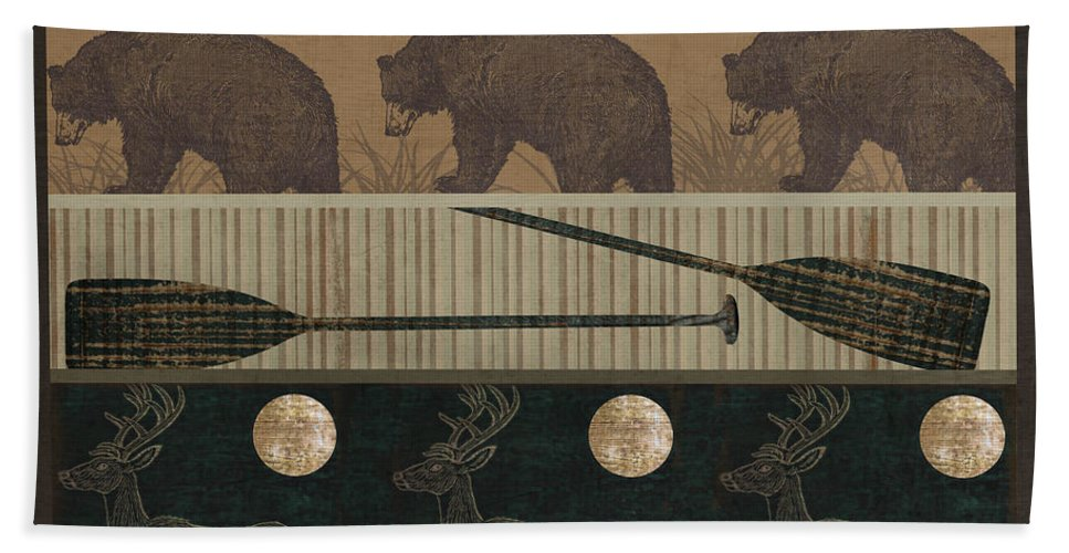 Bears Beach Towel featuring the painting Lodge Cabin Quilt by Mindy Sommers