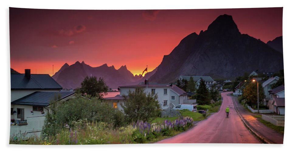 Midnight Sun Beach Towel featuring the photograph Lofoten Nightlife by Alex Conu