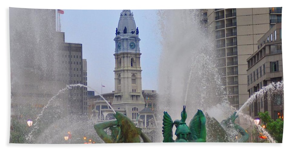 Fountain Beach Towel featuring the photograph Logan Circle Fountain With City Hall In Backround 2 by Bill Cannon