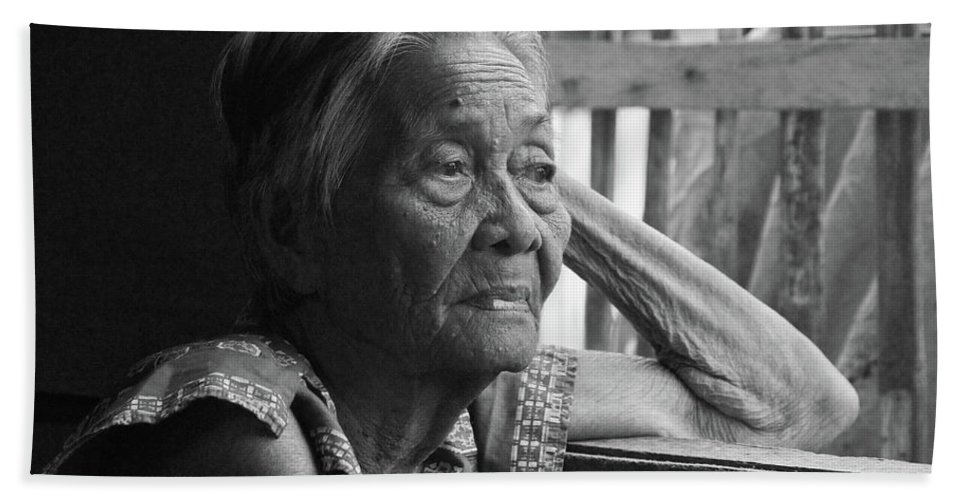 Philippines Beach Towel featuring the photograph Lola Image Number 33 In Black And White. by James BO Insogna