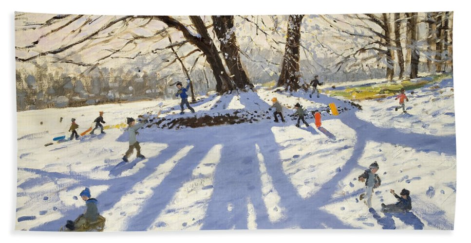 Winter Beach Towel featuring the painting Lomberdale Hall Derbyshire by Andrew Macara