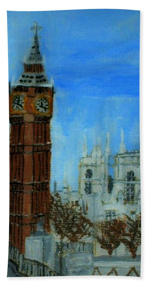 Aceo Beach Towel featuring the painting London Big Ben Clock by Leslye Miller