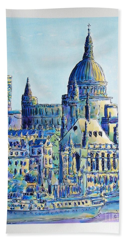 London Beach Towel featuring the painting London City St Paul's Cathedral by Gracio Freitas