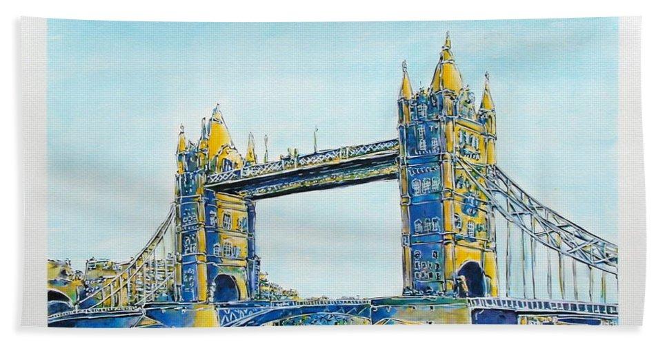 London Beach Towel featuring the painting London City Tower Bridge by Gracio Freitas