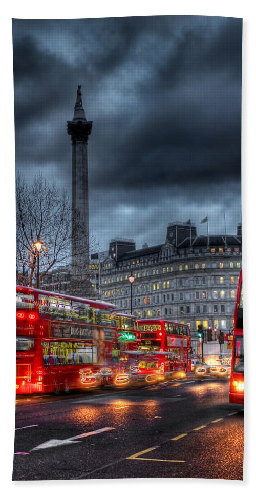 London Red Buses Beach Towel featuring the photograph London Red Buses by Jasna Buncic
