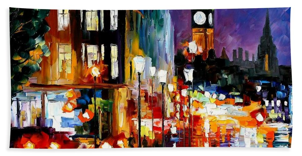 Afremov Beach Towel featuring the painting London's Lights by Leonid Afremov