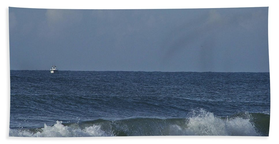 Boat Beach Towel featuring the photograph Lone Boat On The Horizon by Teresa Mucha