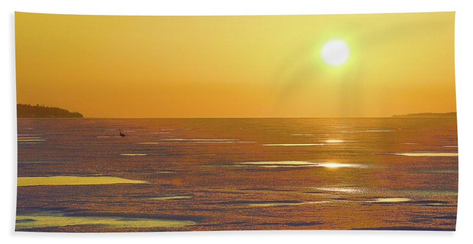 Abstract Beach Towel featuring the digital art Lone Goose At Sunrise by Lyle Crump