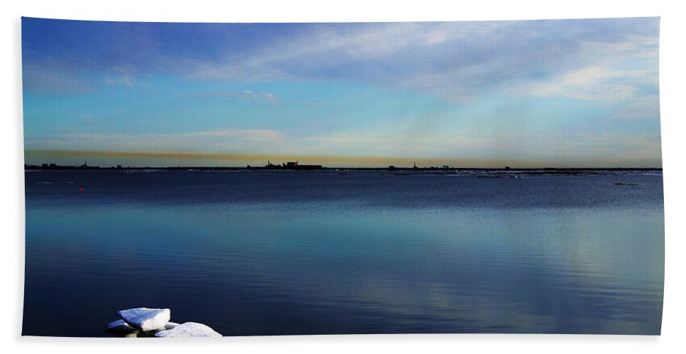 Landscape Beach Sheet featuring the photograph Lone Ice by Anthony Jones