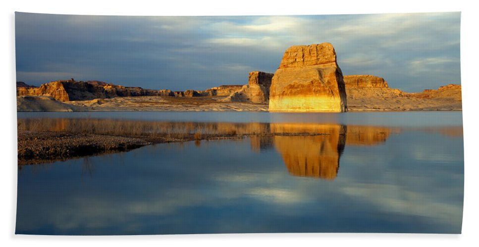 Lone Rock Beach Towel featuring the photograph Lone Rock Glow by Mike Dawson