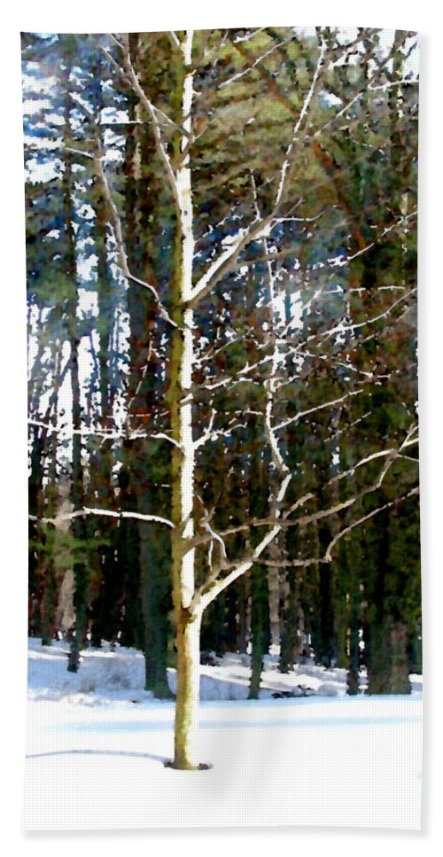 Trees Beach Towel featuring the painting Lone Tree by Paul Sachtleben