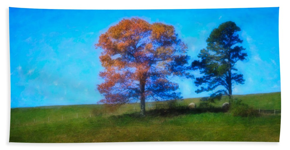 Fall Beach Towel featuring the digital art Lone Trees Painting by Teresa Mucha