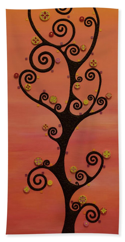 Tree Beach Towel featuring the mixed media Loneliness by Francesca Colantoni