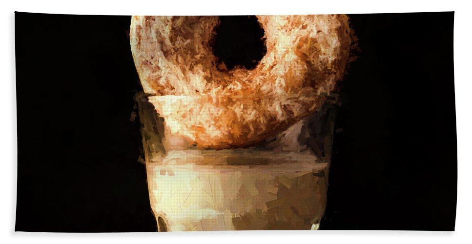 Donut Beach Towel featuring the painting Lonely Man's Dessert by Mike Penney