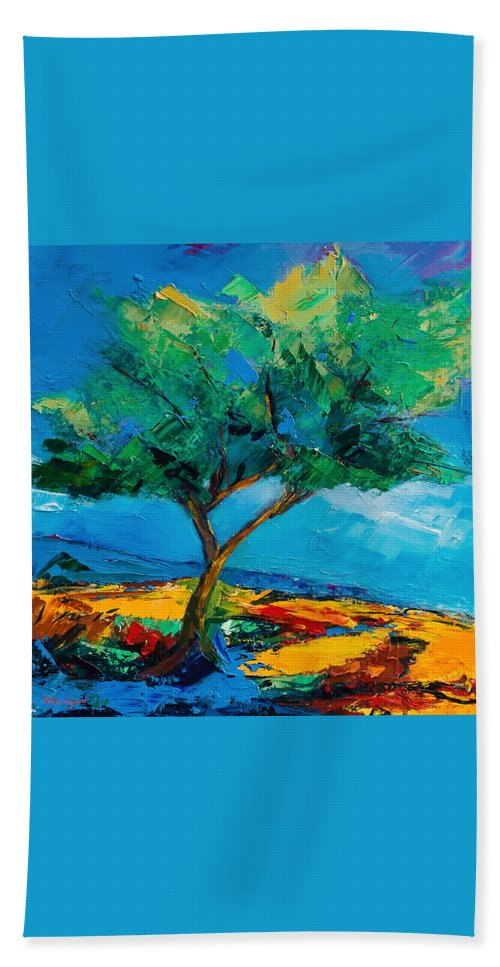 Landscape Beach Towel featuring the painting Lonely Olive Tree by Elise Palmigiani
