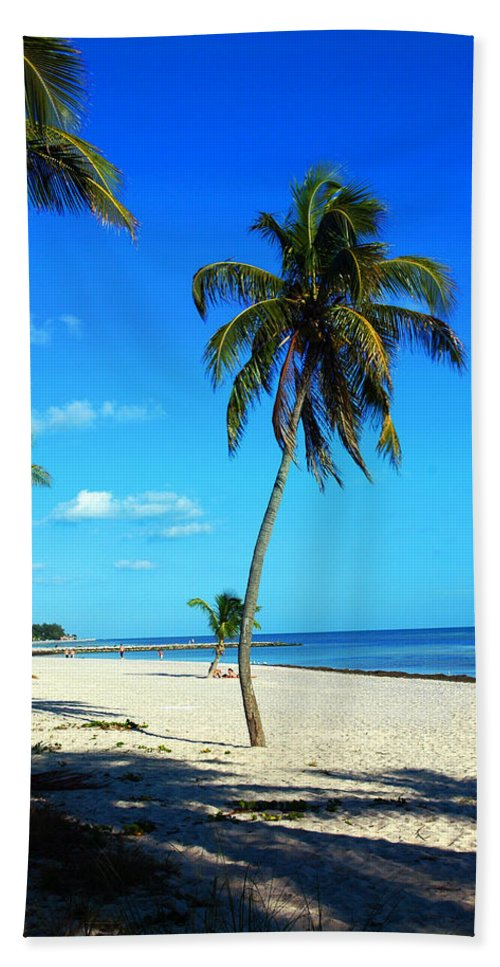 Palm Tree Beach Towel featuring the photograph Lonely Palm by Susanne Van Hulst