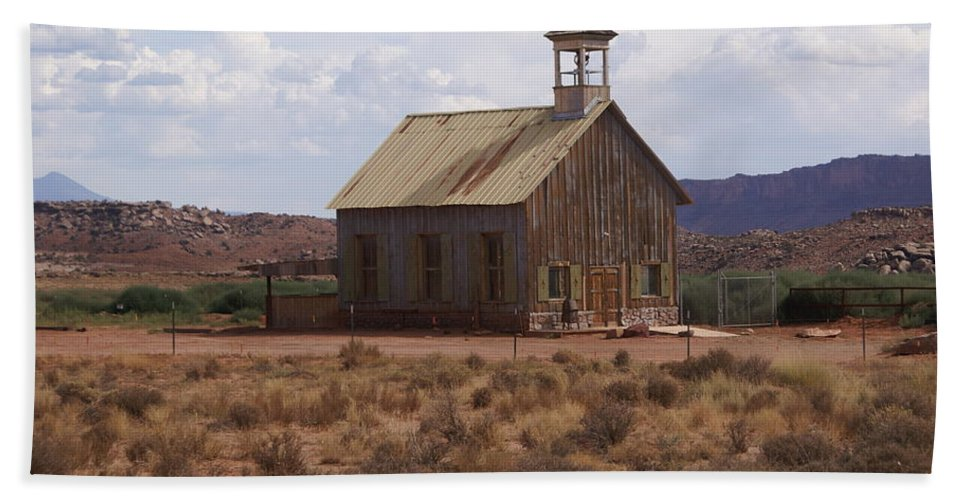 Old Building Beach Towel featuring the photograph Lonely Schoolhouse by Marty Koch