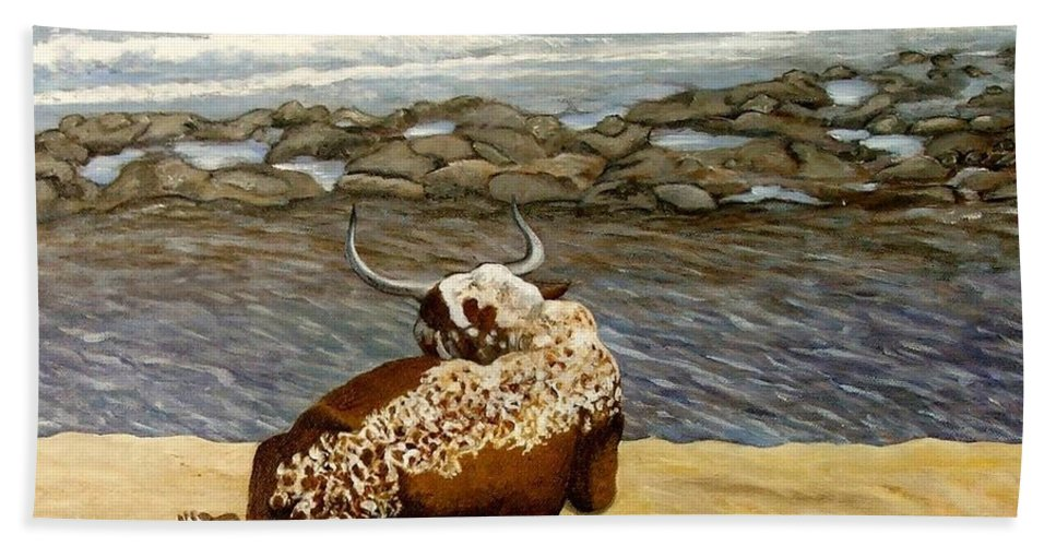 Cattle Beach Towel featuring the painting Lonesome Nguni by Caroline Street