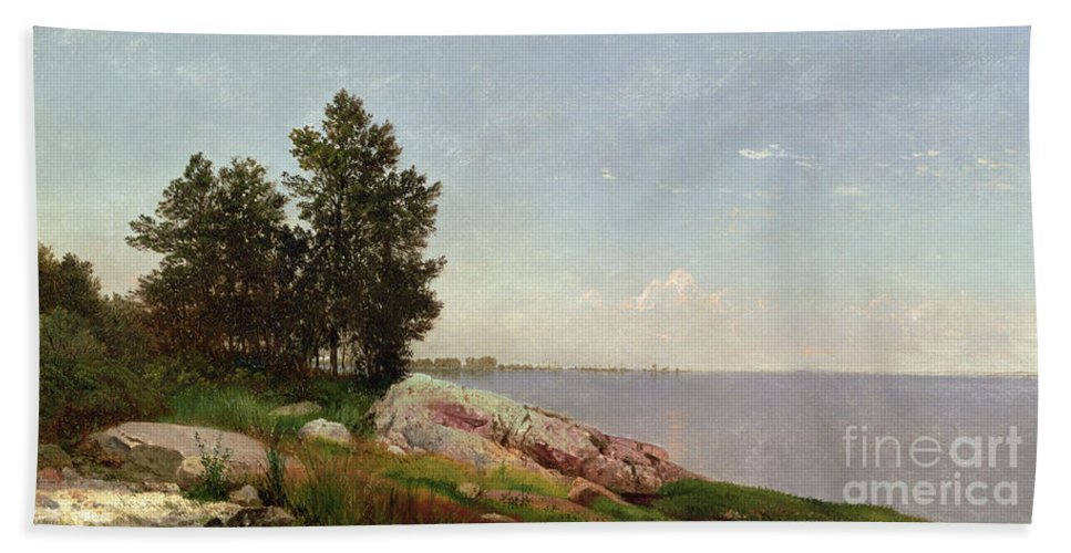 Long Island Sound At Darien (oil On Canvas) Long Island Sound At Darien (oil On Canvas) Beach Towel featuring the painting Long Island Sound At Darien by John Frederick Kensett