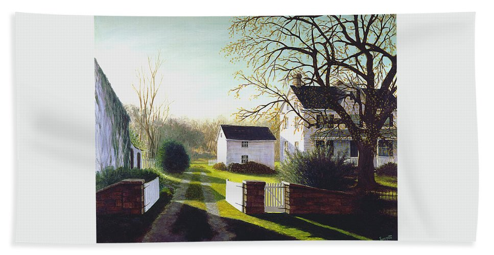 Beach Towel featuring the painting Long Shadows by Tony Scarmato