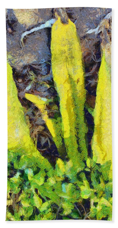 Leaves Beach Towel featuring the photograph Long Yellow Leaves by Ashish Agarwal