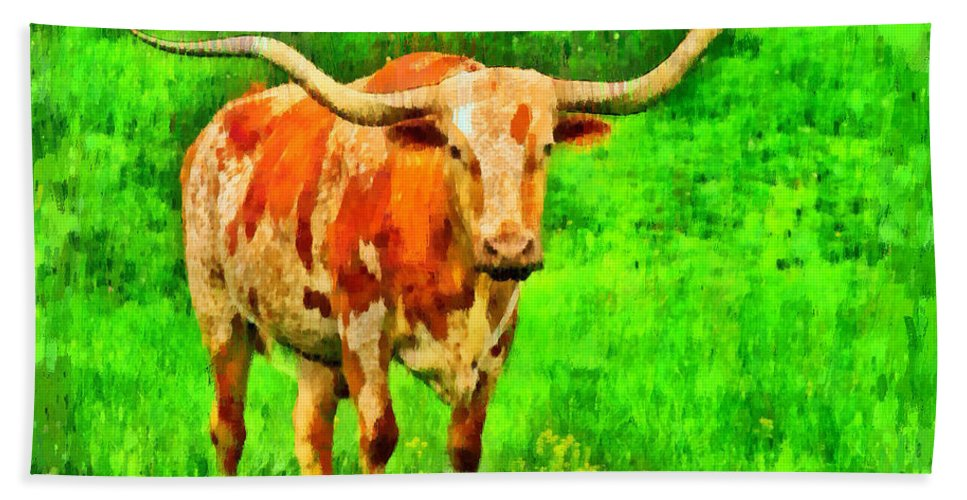 Long-horn Beach Towel featuring the painting Longhorn 2 - Pa by Leonardo Digenio