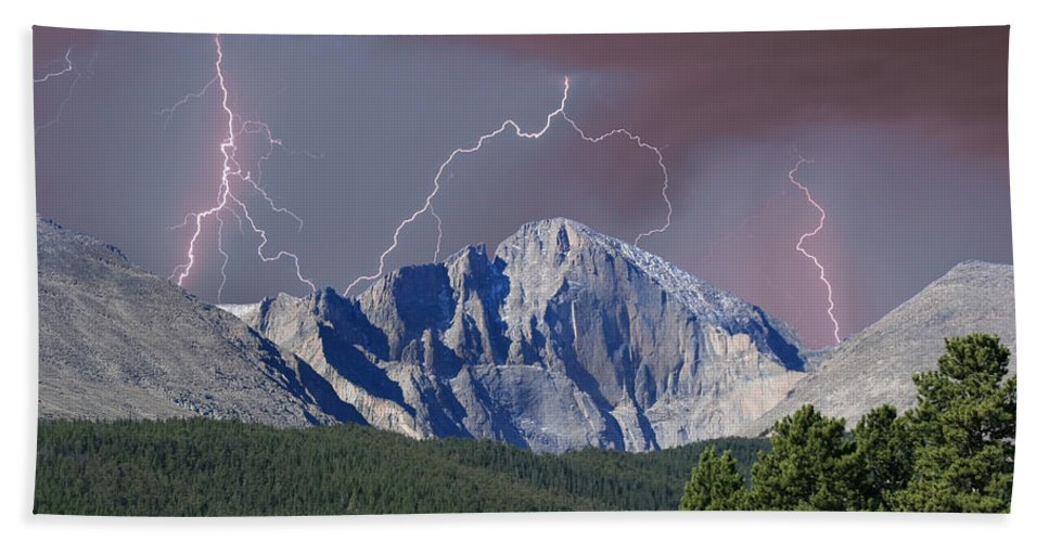 Longs Peak Beach Towel featuring the photograph Longs Peak Lightning Storm Fine Art Photography Print by James BO Insogna