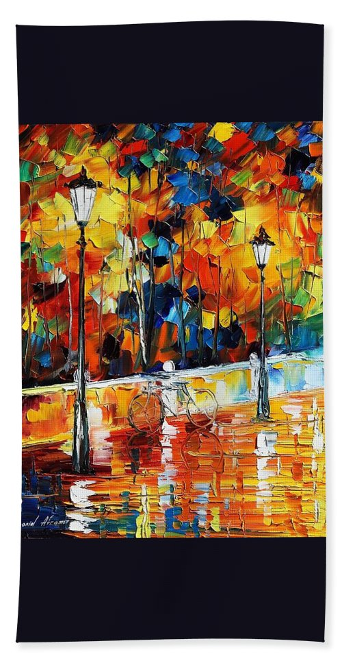 Afremov Beach Towel featuring the painting Lonley Bicycle by Leonid Afremov