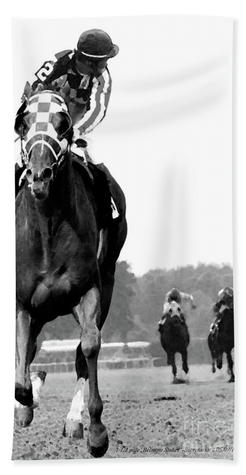 Looking Back Beach Towel featuring the mixed media Looking back, 1973 Secretariat, stretch run, Belmont Stakes by Thomas Pollart