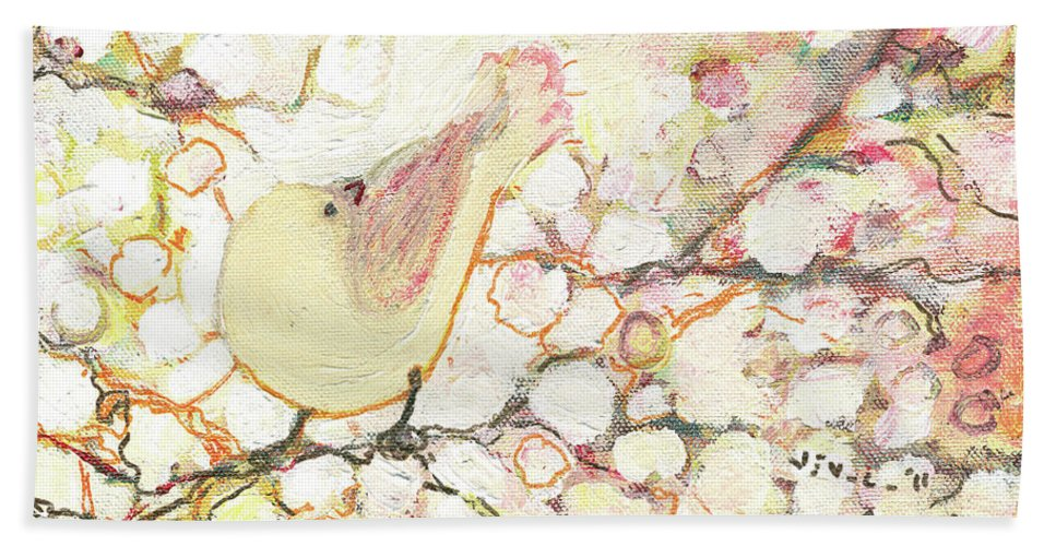 Bird Beach Towel featuring the painting Looking for Love by Jennifer Lommers
