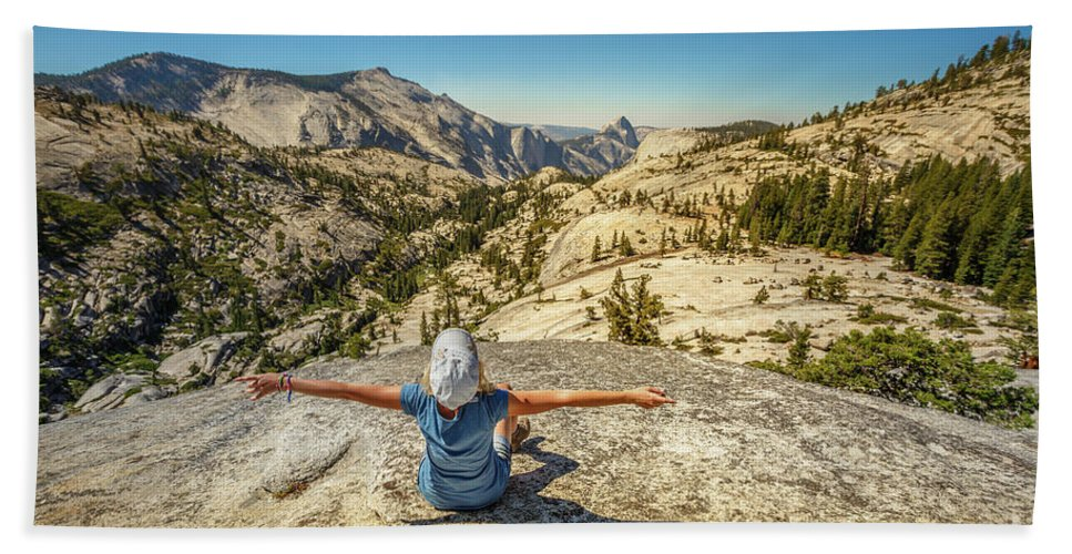 Yosemite Beach Towel featuring the photograph Looking Half Dome by Benny Marty