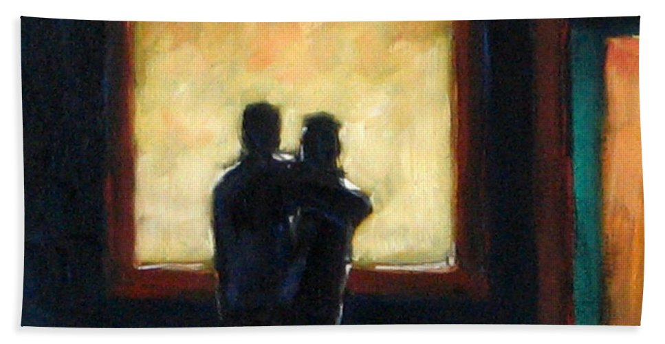 Town Beach Towel featuring the painting Looking In Looking Out Mini by Richard T Pranke