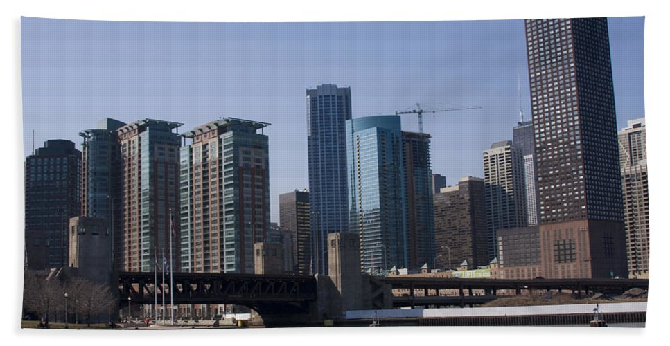 Chicago Windy City Building Tall High Big Skyscraper Water River Lake Michigan Blue Sky Metro Urban Beach Towel featuring the photograph Looking Into The City by Andrei Shliakhau