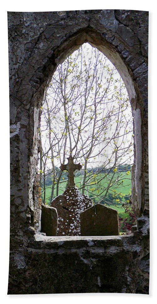 Ireland Beach Towel featuring the photograph Looking Out Fuerty Church Roscommon Ireland by Teresa Mucha