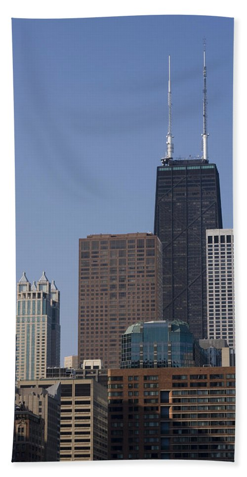 Chicago Windy City Building Skyscraper Tall Big High Metro Urban John Hancock Tower Center Beach Towel featuring the photograph Looking Over by Andrei Shliakhau