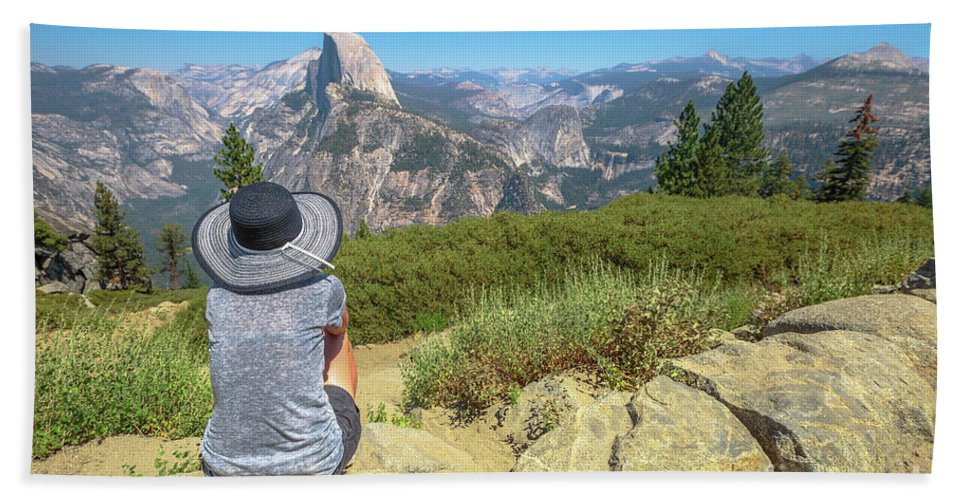Yosemite Beach Towel featuring the photograph Looking Panorama At Glacier Point by Benny Marty