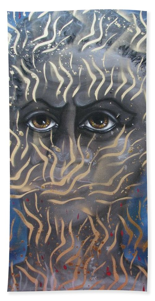 Man Beach Towel featuring the painting Looking Through Fire by Joan Stratton