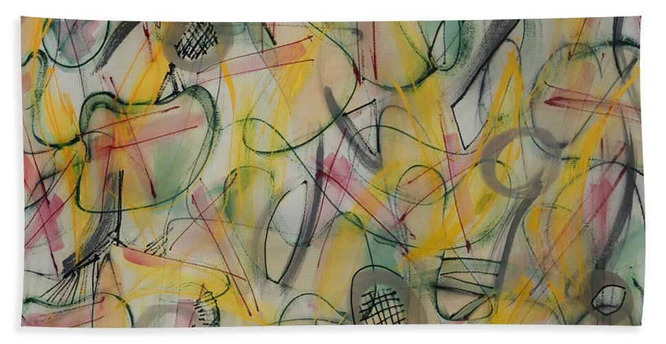 Abstract Beach Towel featuring the painting Looking Up by Lynne Taetzsch